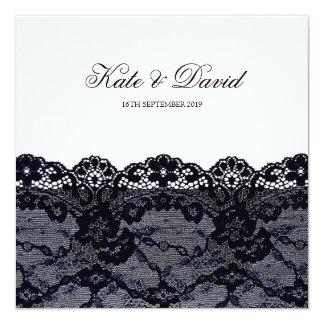 Elegant Vintage Black Lace Wedding Invitation