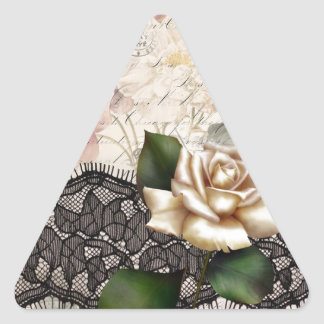 Elegant vintage black lace white rose triangle sticker