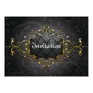 "Elegant vintage black n gold invitation 5"" x 7"" invitation card"