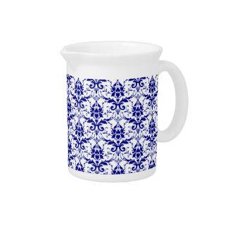 Elegant Vintage Blue and White Damask Pattern Beverage Pitcher
