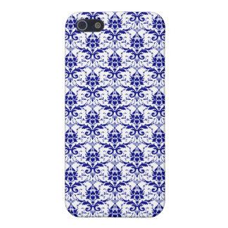 Elegant Vintage Blue and White Damask Pattern Case For iPhone SE/5/5s