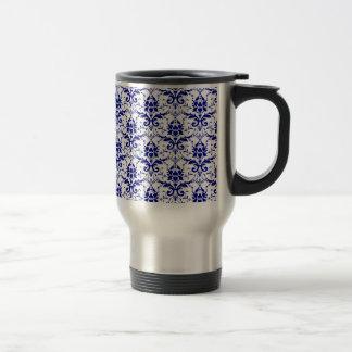 Elegant Vintage Blue and White Damask Pattern 15 Oz Stainless Steel Travel Mug