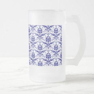 Elegant Vintage Blue and White Damask Pattern 16 Oz Frosted Glass Beer Mug