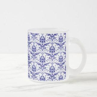 Elegant Vintage Blue and White Damask Pattern 10 Oz Frosted Glass Coffee Mug