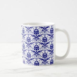 Elegant Vintage Blue and White Damask Pattern Classic White Coffee Mug