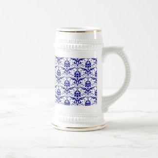 Elegant Vintage Blue and White Damask Pattern 18 Oz Beer Stein
