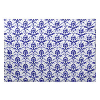 Elegant Vintage Blue and White Damask Pattern Placemat