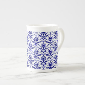 Elegant Vintage Blue and White Damask Pattern Tea Cup