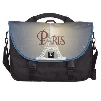Elegant Vintage Blue Eiffel Tower Paris Design Laptop Bags