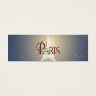 Elegant Vintage Blue Eiffel Tower Paris Design Mini Business Card