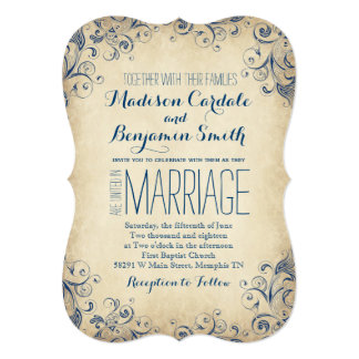 Elegant Vintage Blue Flourish Wedding Invitations