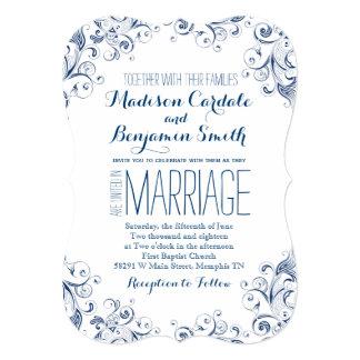 Elegant Vintage Blue Flourish Wedding Invitations