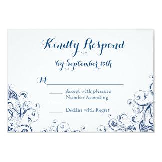 Elegant Vintage Blue Flourish Wedding RSVP Cards