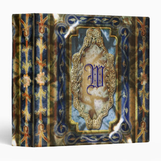 Elegant vintage blue gold customizable vinyl binder