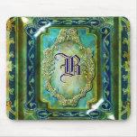 Elegant vintage blue gold monogram mousepads