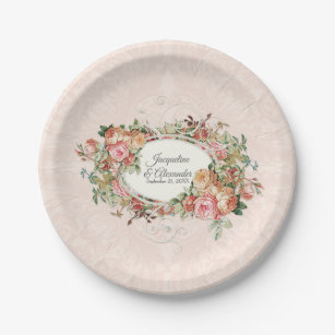 Vintage Rose Bouquet Plates | Zazzle