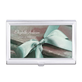 Elegant Vintage Books With Mint Green Ribbon Business Card Case
