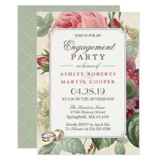 Elegant Vintage Botanical Floral Engagement Party Card