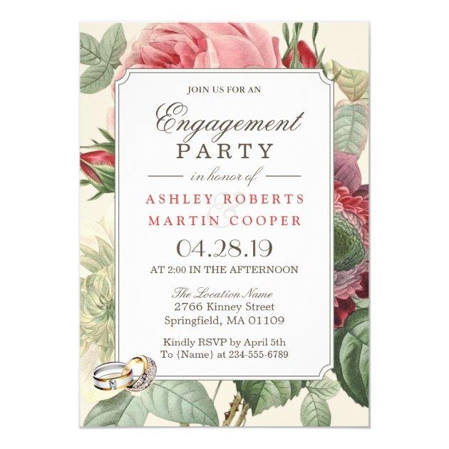 Elegant Vintage Botanical Floral Engagement Party Card (back side)