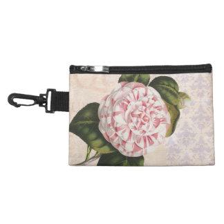 Elegant Vintage Botanical Pink Camellia Flower Accessory Bag