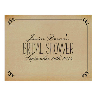 Elegant Vintage Bridal Shower Recipe Cards Postcard