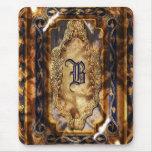 Elegant vintage brown blue monogram mouse pads