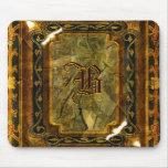 Elegant vintage brown gold monogram mouse pads