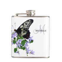 Elegant vintage Butterfly name Flask