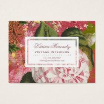 Elegant Vintage Camellia Floral Chic Business Card