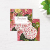 Elegant Vintage Camellia Floral Chic Square Square Business Card