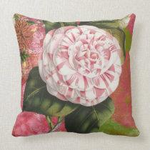 Elegant Vintage Camellia Floral Collage Throw Pillow