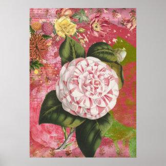 Elegant Vintage Camellia Floral Fantasy Poster