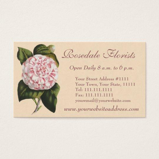 Elegant Vintage Camellia Gardener or Florist Business Card