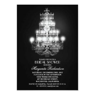 elegant vintage chandelier bridal shower invites