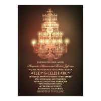 elegant vintage chandelier wedding invitations
