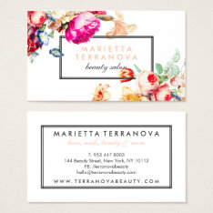 Elegant vintage chic floral striped beauty salon business card at Zazzle
