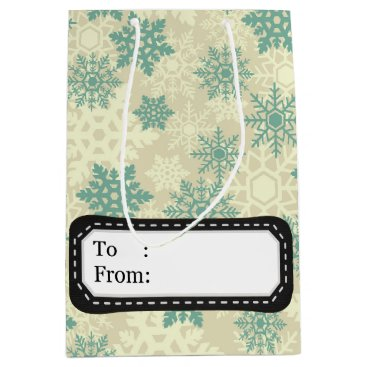 Professional Business Elegant vintage Christmas snowflakes Medium Gift Bag