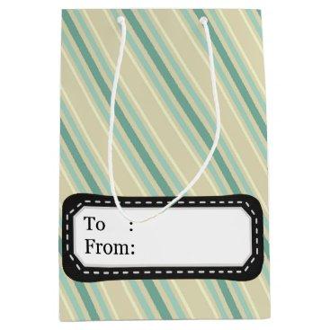 Professional Business Elegant vintage Christmas stripes Medium Gift Bag