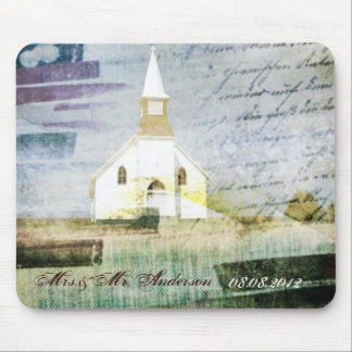 elegant vintage church chapel country anniversary mouse pad