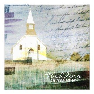 elegant vintage church chapel country wedding announcement