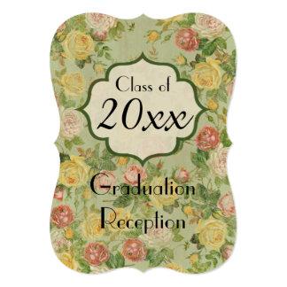 Elegant Vintage Country Floral Graduation Pary 5x7 Paper Invitation Card