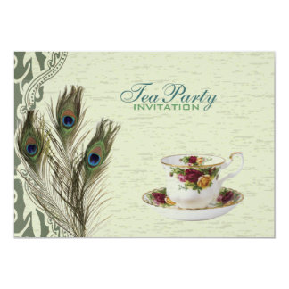 elegant vintage country green peacock tea party card