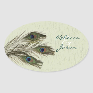 elegant vintage country green peacock wedding oval sticker
