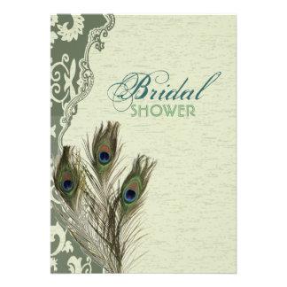 elegant vintage country  peacock bridal shower announcement