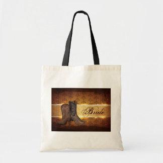 elegant vintage Cowboy Boots Country bride Canvas Bag