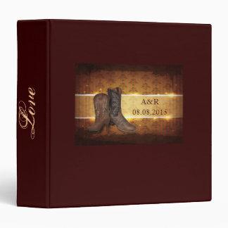 elegant vintage Cowboy Boots Country wedding Vinyl Binders