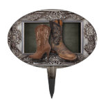 elegant vintage Cowboy Boots Country wedding Cake Toppers