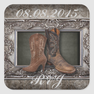 elegant vintage Cowboy Boots Country wedding Square Stickers