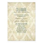 elegant vintage cream damask peacock wedding 5x7 paper invitation card