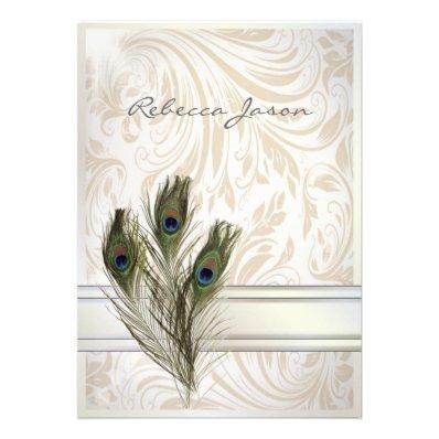 elegant vintage cream damask peacock wedding invites
